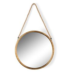 Contemporary Heaven offers for sale a large Round Gold Vintage Metal Mirror on Hanging Rope to buy online Round Hanging Mirror, Rope Mirror, Hanging Rope, Metal Mirror, Round Mirrors, Modern Vintage Fashion, Vintage Metal, Antique Gold, Home Accessories