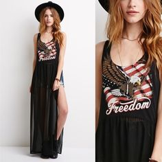 NWT freedom tour maxi dress Superrrrr cute and cool maxi dress! I bought this in preparation for July fourth this year but it was too big on me!!!!! So sad. I'd say it would fit a larger medium and large! It's so cute! NEW WITH TAGS! bundle and save ✨ Forever 21 Dresses Maxi