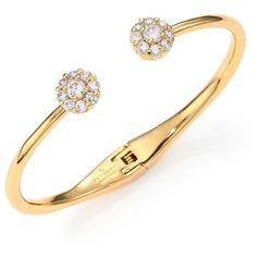 Kate Spade New York Rise & Shine Flower Bangle Bracelet/Clear ($77) ❤ liked on Polyvore featuring jewelry, bracelets, apparel & accessories, gold, flower bangle, kate spade jewelry, bangle bracelet, bangle jewelry and clear crystal jewelry