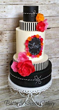 Chalkboard Love Cake by Butterfly Sweets  Chalkboard Cake, Chalkboard Wedding cake, modeling chocolate, wafer paper flowers  #chalkboardcake #chalkboardweddingcake #modelingchocolate #waferpaperflowers
