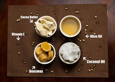 Home Made Chapsticks INGREDIENTS 1.5 oz beeswax (1 and a half tablets) 6 vitamin E capsules 2-3 tablespoons of olive oil (2=more rigid, 3=softer) 2-3 teaspoons of coconut oil 2-3 teaspoons of cocoa butter 25-30 empty chap stick tubes OR 15 lip balm containers rambly blog: Lesson# 144 The Best Gifts are Homemade {Natural Chapstick}