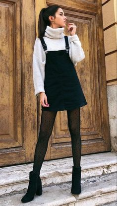 sweater with black sheer tights- winter o. - Cardigan sweater with black sheer tights- winter o. -Cardigan sweater with black sheer tights- winter o. - Cardigan sweater with black sheer tights- winter o. Winter Trends, Winter Ideas, Hipster Outfits, Cute Casual Outfits, Mode Outfits, Outfits For Concerts, Chic Outfits, Mean Girls Outfits, New Girl Outfits