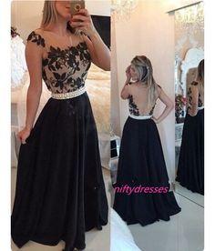New Arrival Black Prom Dresses,Black A-Line Chiffon Long