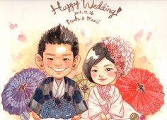 和風ウェルカムボード Japanese-style welcome board Wedding Illustration, Couple Illustration, Japanese Wedding, Japanese Style, Wedding Renewal Vows, Watercolor Paintings, Watercolours, Wedding Couples, Cartoon