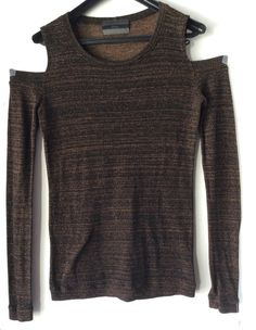 FLUXUS New Cold Shoulder Tunic Stretch Thin Knit Brown Sweater Long Sleeves XS #FLUXUS #Tunic