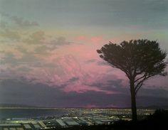 MJ Lourens - View of a Bay Port Elizabeth Port Elizabeth, Artist Bio, Mj, Art Gallery, Sunset, Illustration, Outdoor, Life, Image