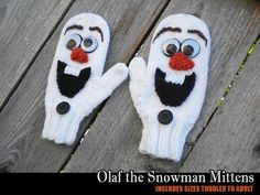 I know a little girl named Macy that would love these for Christmas. Ravelry: Olaf the Snowman Mittens pattern by Janet Jameson Crochet Baby Mittens, Knitted Mittens Pattern, Crochet Gloves, Crochet Baby Booties, Knit Mittens, Loom Knitting, Baby Knitting, Knitting Patterns, Start Knitting