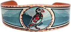 Northwest Native Puffin Totem Jewelry Bracelets in colorful artwork.