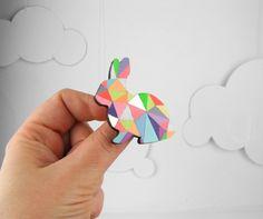 Geometric Rabbit Neon Brooch  -  Harlequin Bunny from Etsy. // claradeparis.com wants it!