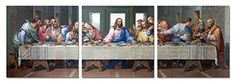 Last Supper 48 x 16 inches Ready to Hang Contemporary Art Modern Wall Decor 3 Panel Wood Mounted Giclee Canvas Print A1378S * Continue to the product at the image link.