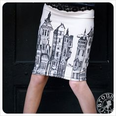 Pencil skirt  Printed skirt  Off White Mini skirt  by Carouselink, $28.00