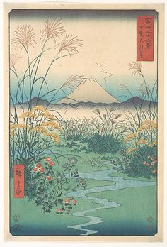 Kai, Otsuki no Hara  Utagawa Hiroshige  (Japanese, 1797–1858)  Period: Edo period (1615–1868) Date: 4th month horse year 1858 Culture: Japan Medium: Polychrome woodblock print; ink and color on paper