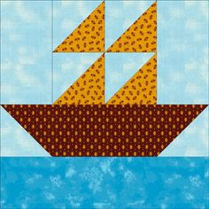 Free Quilt Block Patterns: Boats at Sea Quilt Block Pattern - 8""