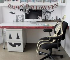Crafty ideas for decorating an office for Halloween - i love the jack-o-lantern filing cabinet