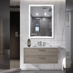 Frameless LED Lighted Bathroom Wall Mounted Mirror with Senor Touch (Large (over high)), Brown