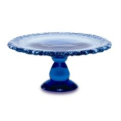 Cake Plate : Handmade Recycled Glassware. Made in the USA. Show off your cakes, fine baked goods or artisanal cheeses and bring elegance to any setting with this hand crafted richly textured and beautiful pedestal server.