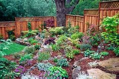 Nice contrast of color between the various components of this small hillside garden.