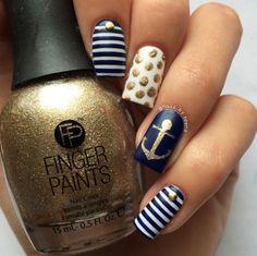 Ready for the beach nails Glitter Toes, Glitter Nail Art, Anchor Nails, Nautical Nails, Beach Nails, Girls Nails, Toe Nail Designs, Cute Nail Art, Fabulous Nails