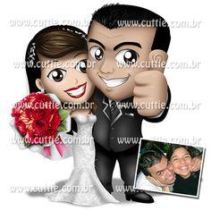 Caricatura para casamento - Noivos Larissa e Bruno FIgueredo - noivinhos cuttie