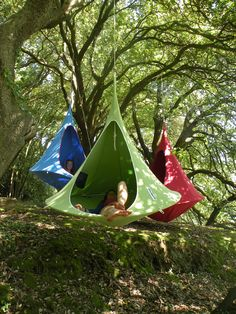 Cacoon...the ultimate hangin' haven. Camp, chill or hang out. In a tree, by the pool, under a gazebo or off your boat. Inside or Out. Portable, lightweight and durable. Available in Leaf Green, Chili Red, Mango Orange, Natural White and Marine Blue. Doors and Mosquito Nets also available. www.cacoon.co