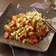 Chicken Honey Nut Stir-Fry - vegetable oil - carrot - celery - chicken - orange juice - honey - cornstarch - reduced sodium soy sauce - fresh ginger - cashews - green onions - brown rice