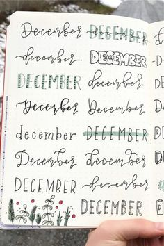 Wether you& setting up your weekly spread or montly log, these December headers will help you add some festive flair to your bullet journal! Bullet Journal School, Bullet Journal Christmas, December Bullet Journal, Bullet Journal Lettering Ideas, Bullet Journal Headers, Bullet Journal Banner, Bullet Journal Notebook, Bullet Journal Ideas Pages, Bullet Journal Inspiration