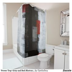 'Power Trip' Grey and Red Abstract Art Shower Curtain