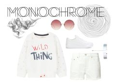 """Bc."" by danielaswift ❤ liked on Polyvore featuring Levi's, MANGO, Prada, Linda Farrow, Accessorize, monochrome, white, likeforlike, followforfollow and onecolor"