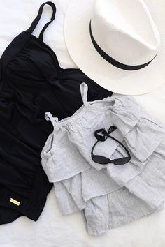 Homevialaura | black swimsuit panama hat | Ki ET LA Diabola | baby sunnies