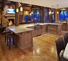Kitchen Island With Seating Area At Fireplace! Love The Cabin Feel .
