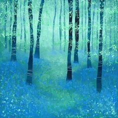 "Bluebells, Challock  by Squirrell  Art Print / MINI (8"" X 8"")    $18.72"