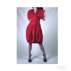 8f29fb96ef6 80s does 40s vintage red silk wiggle cocktail dress women small M 4 Ruched  party 50s red rockabilly pin-up big strong shoulder short sleeve