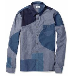 FOLK    BLOCK-PRINTED COTTON-CHAMBRAY SHIRT