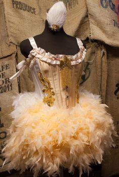 OLYMPIAN White Gold Burlesque Costume Corset FEATHER SKIRT dress. $225.00, via Etsy.