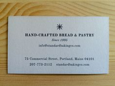 Standard Baking business card, front.