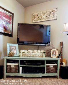 39 Clever DIY Furniture Hacks - Creative DIY Furniture Ideas Turn an old entertainment center into a TV console table Dresser With Tv, Dresser Tv Stand, Old Entertainment Centers, Entertainment Center Makeover, Entertainment Furniture, Entertainment Products, West Elm, Cool Diy, Clever Diy