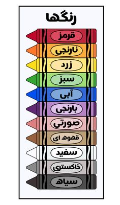 High Resolution Farsi Language Crayon Posters and Individual Crayons, Printables and Clip Art Dari Language, Farsi Alphabet, Learn Farsi, Learn Persian, Urdu Words With Meaning, Persian Language, Language Proficiency, Mandala Art Lesson, Kids Math Worksheets