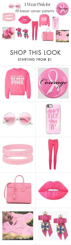 """""""Beat Cancer"""" by dryesetta12 ❤ liked on Polyvore featuring Ashley Stewart, ZeroUV, Casetify, 7 For All Mankind, Yves Saint Laurent, Lime Crime, Dsquared2 and IWearPinkFor"""