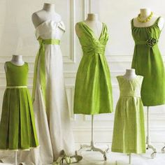 Green and white dresses