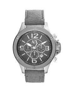 Armani Exchange AX  Mens Gray Suede and Brown Leather Chronograph Watc
