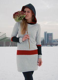 Kapuzenkleider - Kapuzenkleid JAQUEEN - ein Designerstück von JAQUEEN-handmade-streetwear-berlin bei DaWanda