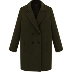 Choies Dark Army Green Double Breasted Lapel Loose Pea Coat (370 SEK) ❤ liked on Polyvore featuring outerwear, coats, black, lapel coat, double breasted peacoat, pea jacket, pea coat and black peacoat
