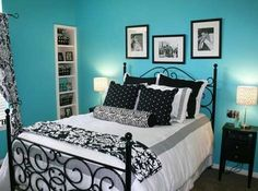 Teen Bedrooms, Teen Room Decorating Ideas, Teenage Bedroom Designs- Mak wants to paint her room teal & its already approved! This color would go great with her black & white zebra stuff!