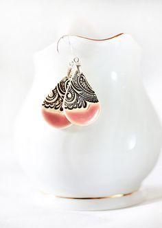 Pink dangle earrings Sterling silver earwires Ceramic jewelry Ceramic earrings Long dangle earrings Elegant earrings Pink statement earrings