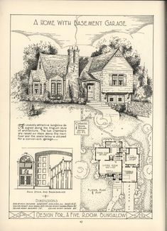 """~ Living a Beautiful Life ~ Lake Shore Lumber & Coal [house plans]. They call it a bungalow, but it is a style that most now call """"Norman. The Sims, Sims 4, Vintage Architecture, Architecture Plan, Small House Plans, House Floor Plans, Colonial House Plans, Dutch Colonial Homes, Vintage House Plans"""