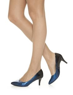 This striking metallic sapphire-blue mid-heel will make your day-to-night outfit transition a whole lot easier. Eli's irresistible colour duo of sapphire-blue and black will add a playful yet sophisticated edge to any outfit. Day To Night Outfits, Blue Sapphire, Light In The Dark, New Look, Kitten Heels, Metallic, Colour, Beautiful, Black