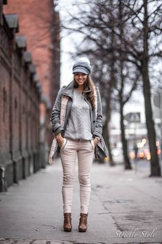 winter outfit pink and grey ootd