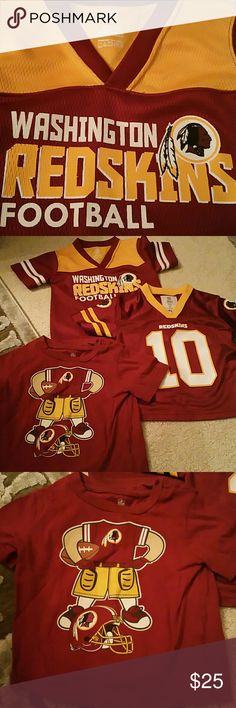 BOGO (3 pcs) Little Boys Redskins Jersey (2T) 2 Redskins Jersey and 1 t-shirt  See 5th pic above...small spot on neckline.  Buy One Item and Get ONE Item FREE. FREE items same value or LESS  Very Simple....  BUNDLE BOTH ITEMS AND OFFER ME THE PRICE OF THE MOST EXPENSIVE....  Excludes Mannequins.... Shirts & Tops Tees - Short Sleeve