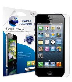 Tech Armor Apple New iPhone 5 High Definition (HD) Clear Screen Protector with Lifetime Replacement Warranty (3-Pack) [ATT, Verizon. Sprint, International and Unlocked iPhone 5 Models] -  Tech Armor's iPhone 5 HD Clear Screen Protectors provide