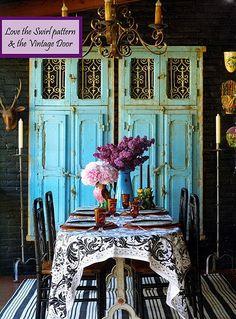 Turquoise painted vintage door